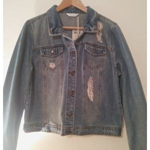 Highway Jeans Distressed Jean Jacket New XL